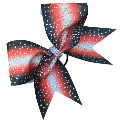 Default Type - Sparkly Red, Black, And White Bow With Rhinestones