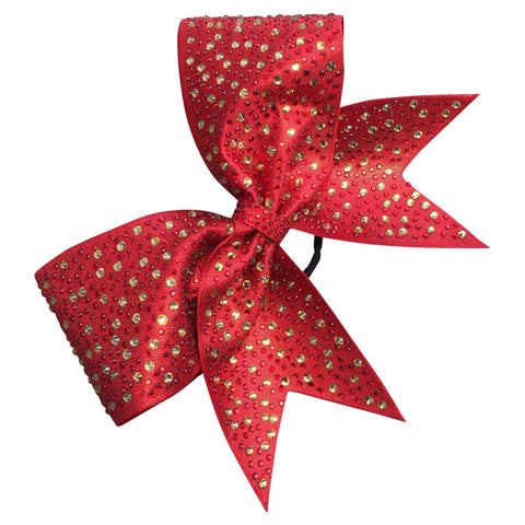 Default Type - Sparkly Red Bow With Red And Gold Rhinestones