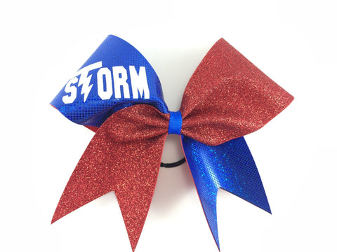 Storm cheer bow with stars. You can put your team name instead and your colors. - BRAGABIT  - 1