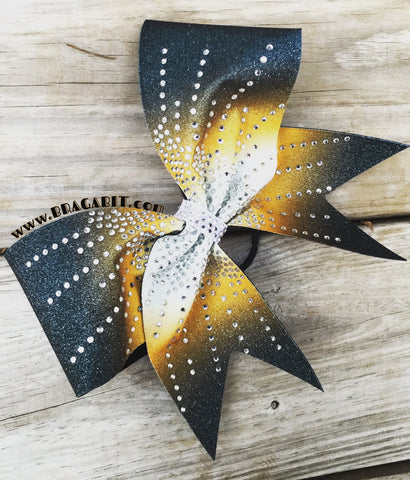 Sublimated glitter bow in black and gold with clear rhinestones. - BRAGABIT  - 1