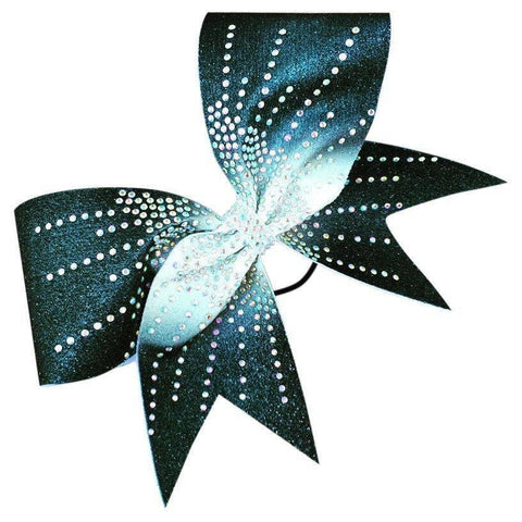 Sublimated glitter ombre bow black to white with AB rhinestones - BRAGABIT  - 2