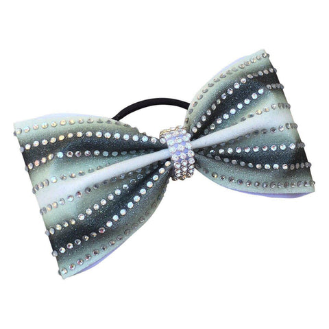 Default Type - Tailless Black And White Bow With Rhinestones.