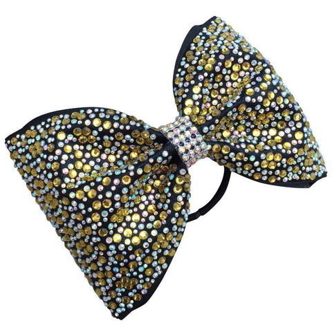 Default Type - Tailless Black Bow With Gold And Silver Rhinestones