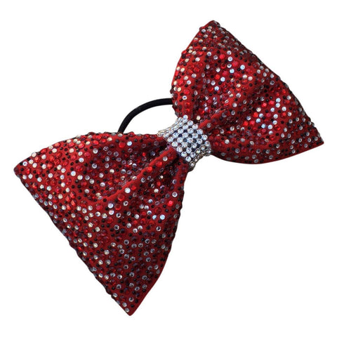 Default Type - Tailless Sparkly Red Bow With Red, Black, And White Rhinestones