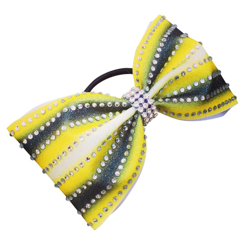 Default Type - Tailless Yellow And Black Bow With Rhinestones
