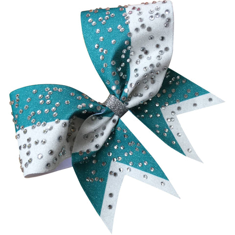 Teal and white glitter bow with big rhinestones - BRAGABIT