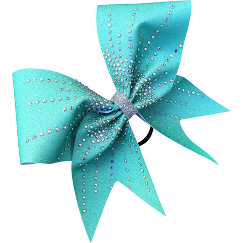 Teal sublimated glitter bow with AB rhinestones - BRAGABIT
