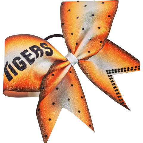 Tigers ombre orange glitter bow with rhinestones. - BRAGABIT  - 1