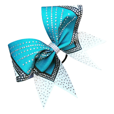 Default Type - Turquise, Black, And White Bow With Rhinestones