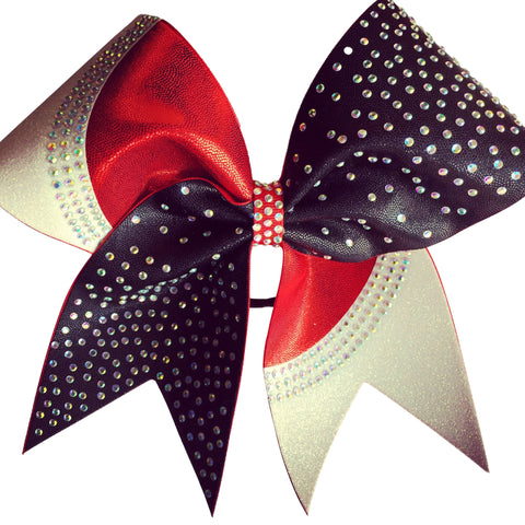 Two color mystique fabric bow with glitter and rhinestones - BRAGABIT