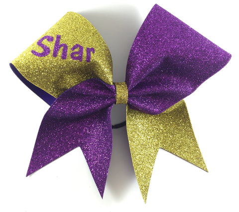 Two colors glitter bow with your name or your team name - BRAGABIT