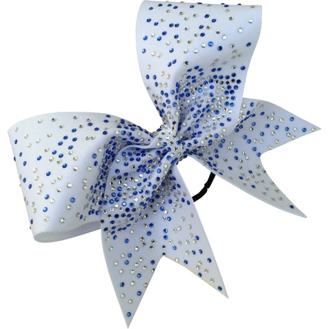 White bow with 2 color rhinestones  center focused - BRAGABIT