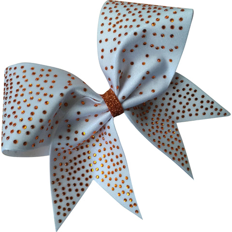 White bow with scattered rhinestones of your choice. - BRAGABIT
