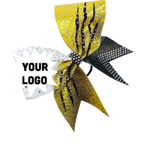 Default Type - Yellow, Black, And White Bow With Rhinestones