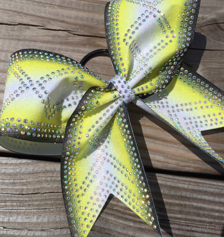 Yellow ombre glitter bow with AB rhinestones - BRAGABIT