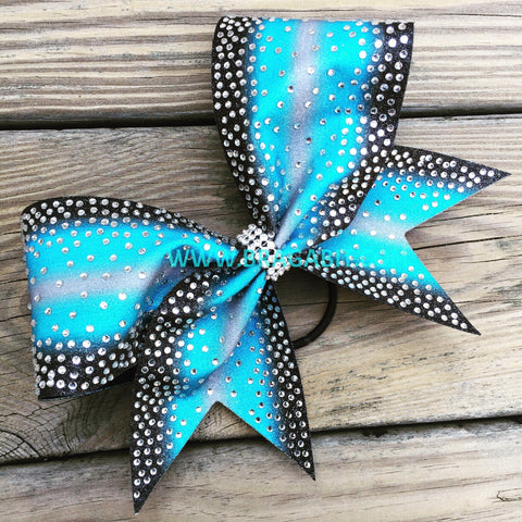 Double Ombré Glitter Bow With Full Rhinestones.