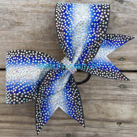 Double Ombré Glitter Bow With Full Rhinestones