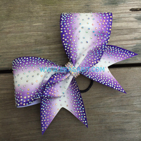 Double Ombré Glitter Bow With Rhinestones Fading From The Sides