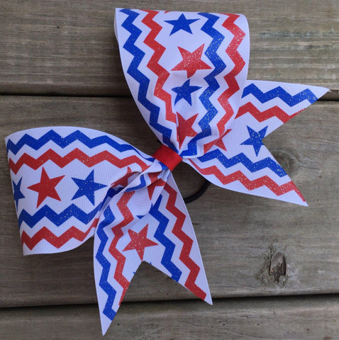 Glittery Red, Blue And White Ribbon Bow
