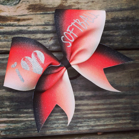 I Love Softball Ombre Glitter Cheer Bow