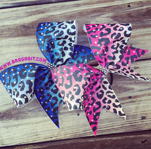 Ombre Cheetah Cheer Bow