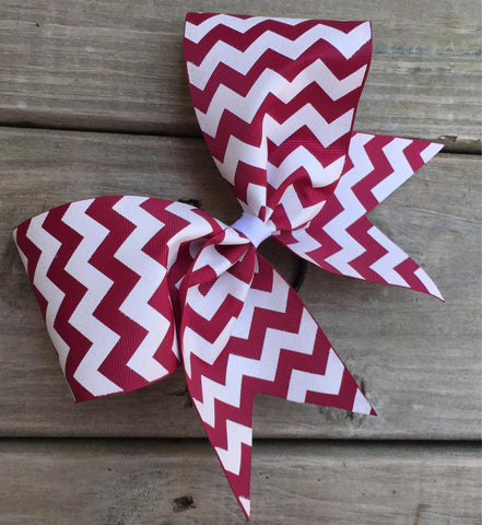 White Chevron Ribbon Bow