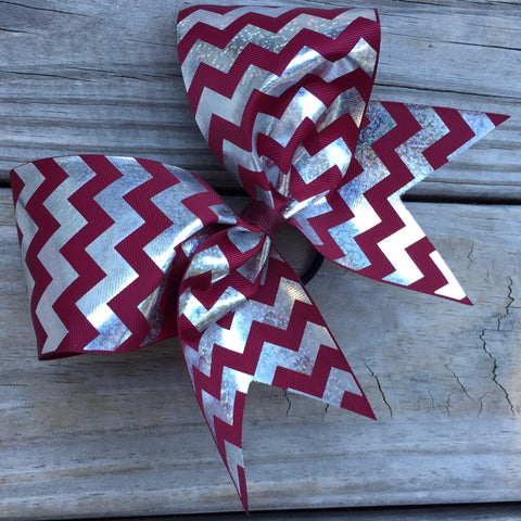 Silver Foil Chevron Ribbon Bow