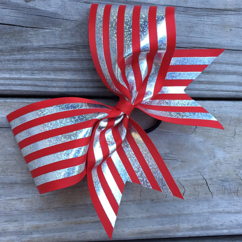 Hologram Silver Stripes on Ribbon Bow