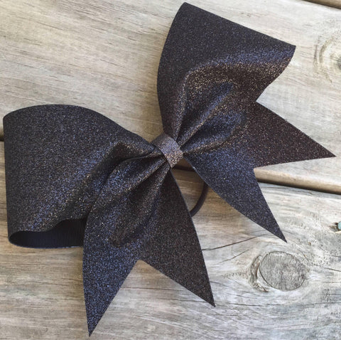 Adel Bow in Black Glitter