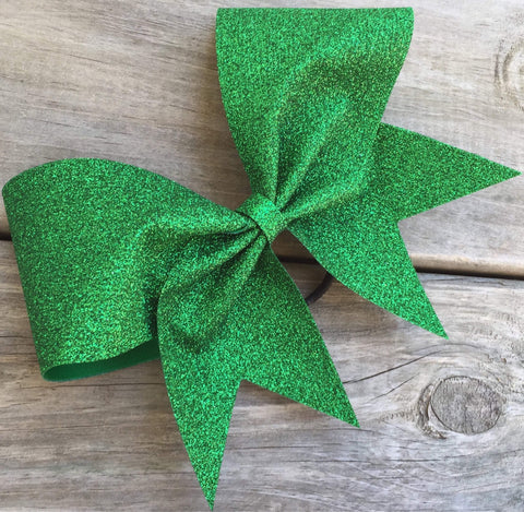 Adel Cheer Bow in Grass Glitter