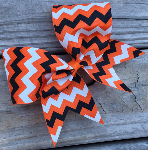 Black and White Chevron on ribbon Bow