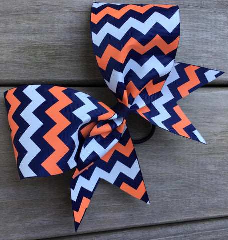Navy, Orange and White Chevron Bow