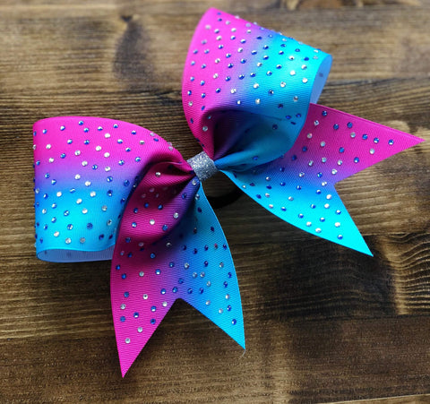 Pink to Turquoise Ombre Ribbon with Rhinestones Bow