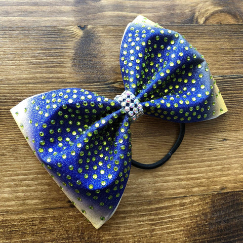 Ombre Vegas Gold to Navy with Rhinestones Tailless Bow