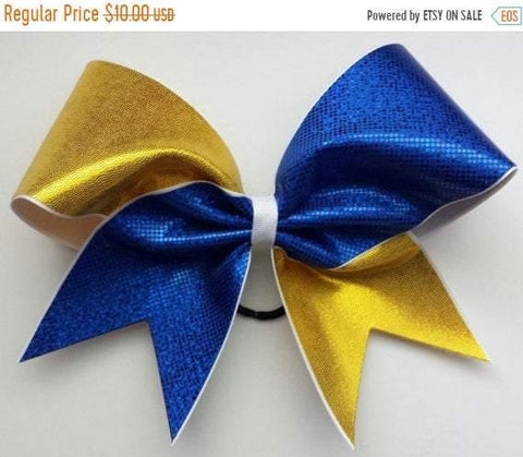 Royal Blue and Gold Cheer Bow