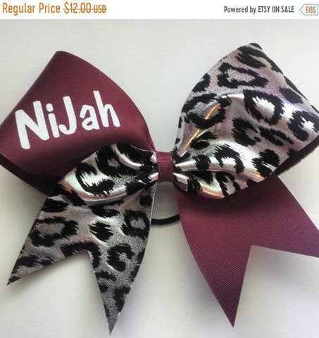 Maroon and Silver Cheetah Cheer Bow