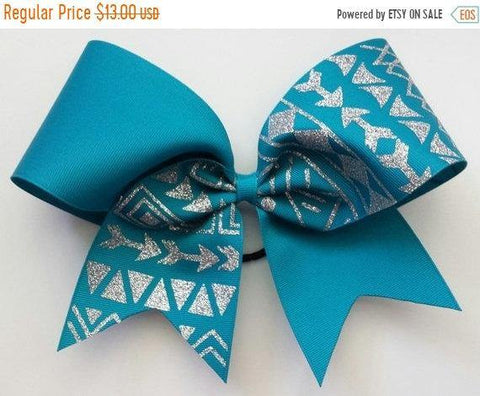 Teal Ribbon Tribal Print Cheer Bow