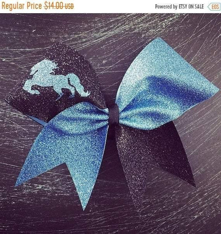 Adelina Cheer Bow in Columbia Blue and Black with a Horse