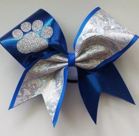 Blue and Silver Cheer Bow with Glitter Paw
