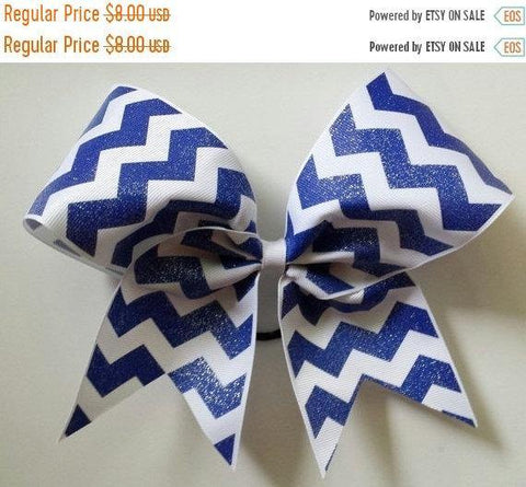 Royal Blue and White Chevron Ribbon Cheer Bow