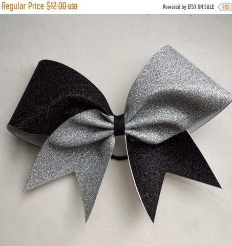 Hazel Cheer Bow in Black and Silver Glitter