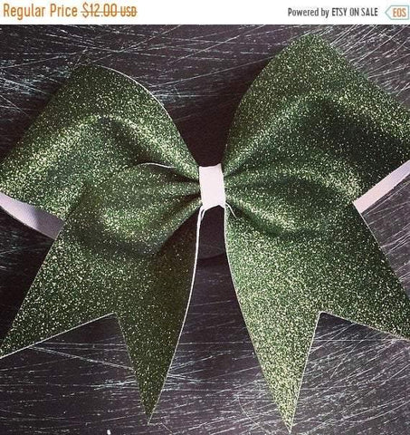 Adel Bow in Dark Green Glitter on White Ribbon