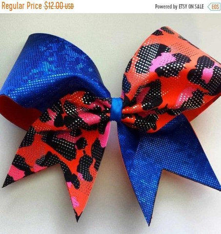 Blue Shattered Glass and Orange Cheetah Print Cheer Bow