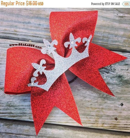 Adora Red Glitter Bow with Silver Glitter Crown and Rhinestones