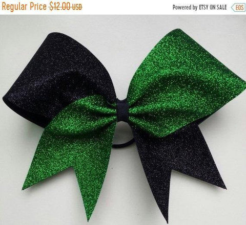 Hazel Cheer Bow in Grass and Black Glitter