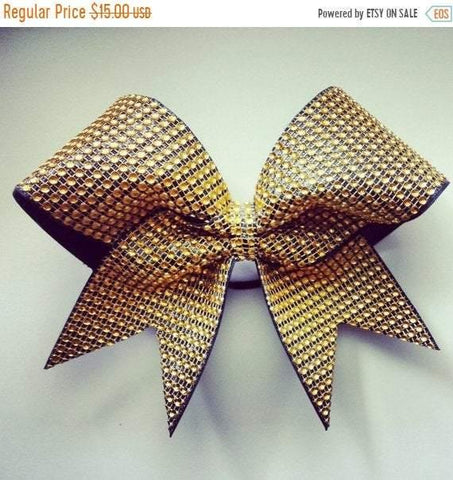 Gold Rhinestones and Black Ribbon Cheer Bow
