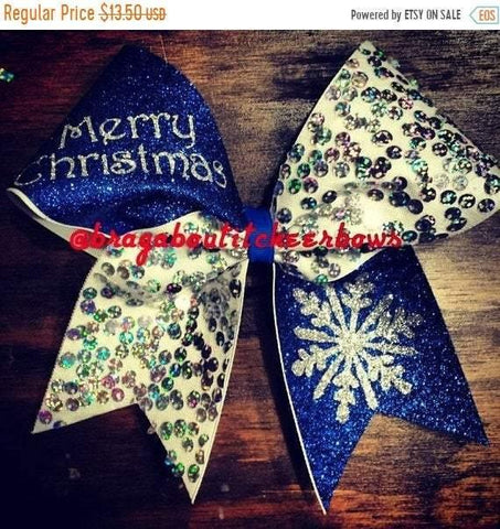Royal Blue Christmas Snowflake Cheer Bow