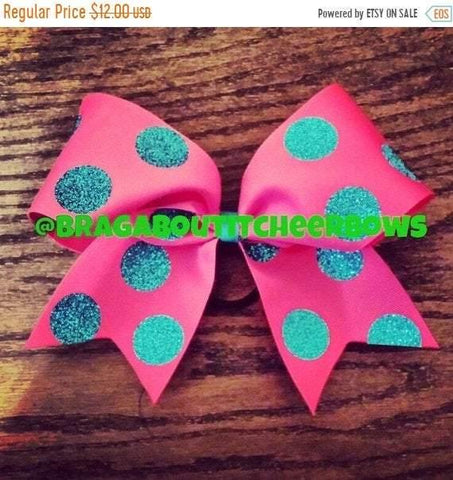 Pink Ribbon and Turquoise Glitter Polka Dots