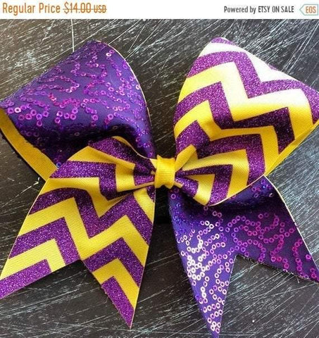 Sequin Cheer bow in Purple and Yellow Chevron