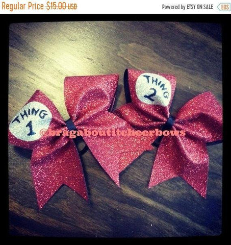 Glitter Thing 1,2,3,4 Cheer Bow